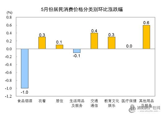统计局:5月份CPI同比上涨1.3% 居住价格上涨0.7%